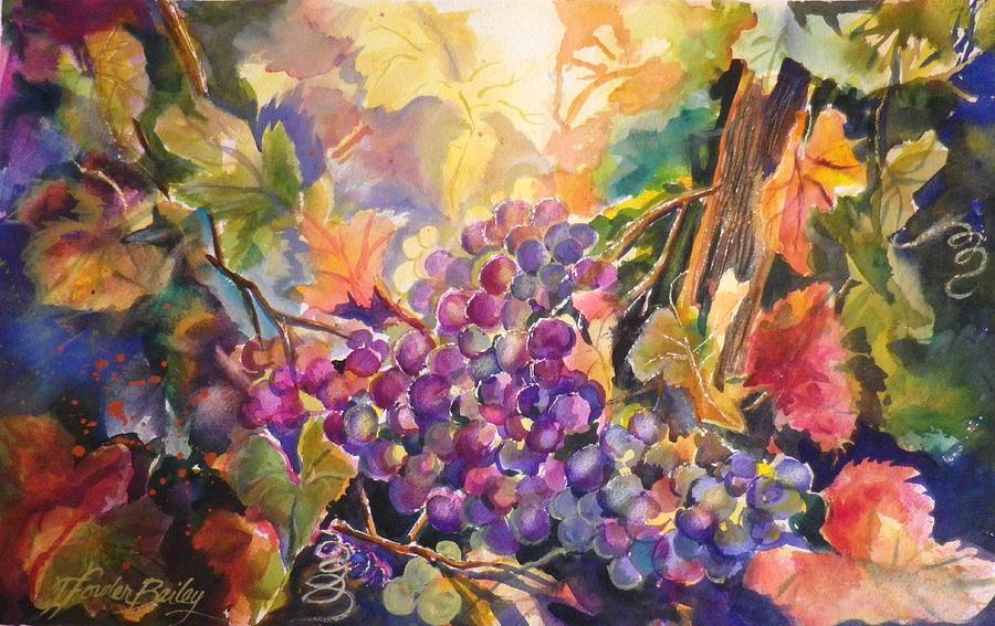 Grapes Painting - Sunlit Grapes Upclose Sold by Therese Fowler-Bailey