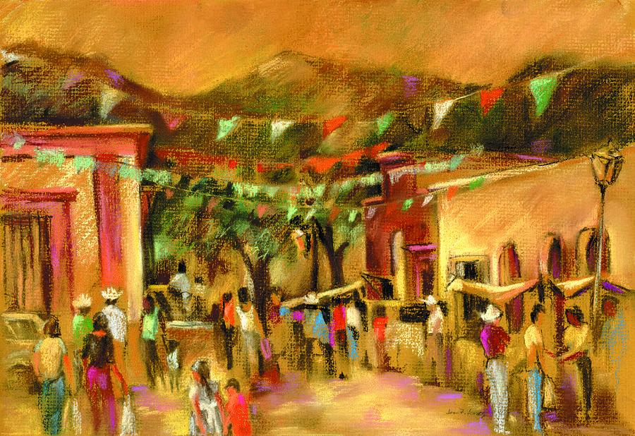Alamos Painting - Sunlit Market by Joan  Jones