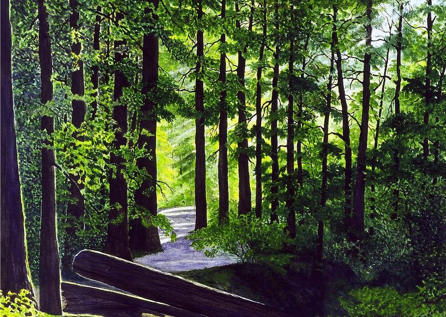Landscape Painting - Sunlit Path by Mark Regni