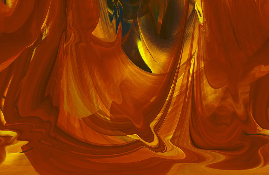 Sunlit Red Cavern Abstract by rd Erickson