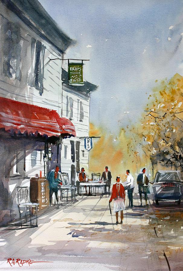 Street Scene Painting - Sunlit Sidewalk - Neshkoro by Ryan Radke
