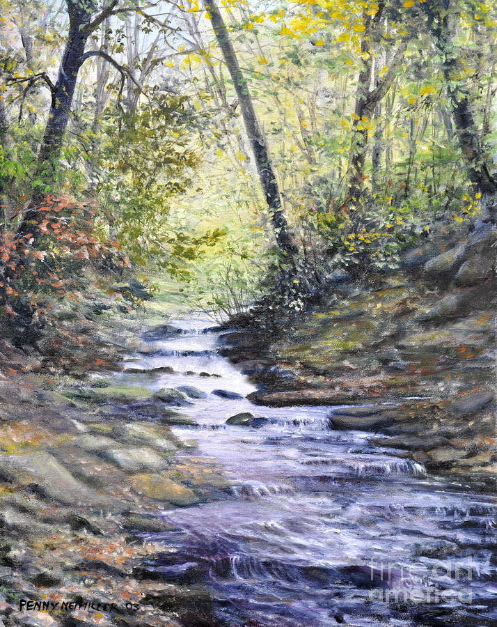 Nature Painting - Sunlit Stream by Penny Neimiller
