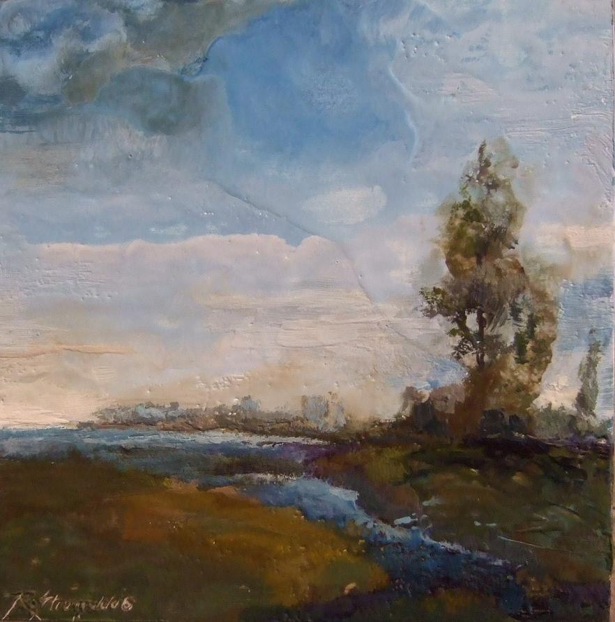Stream Painting - Sunlit Stream by Ruth Stromswold