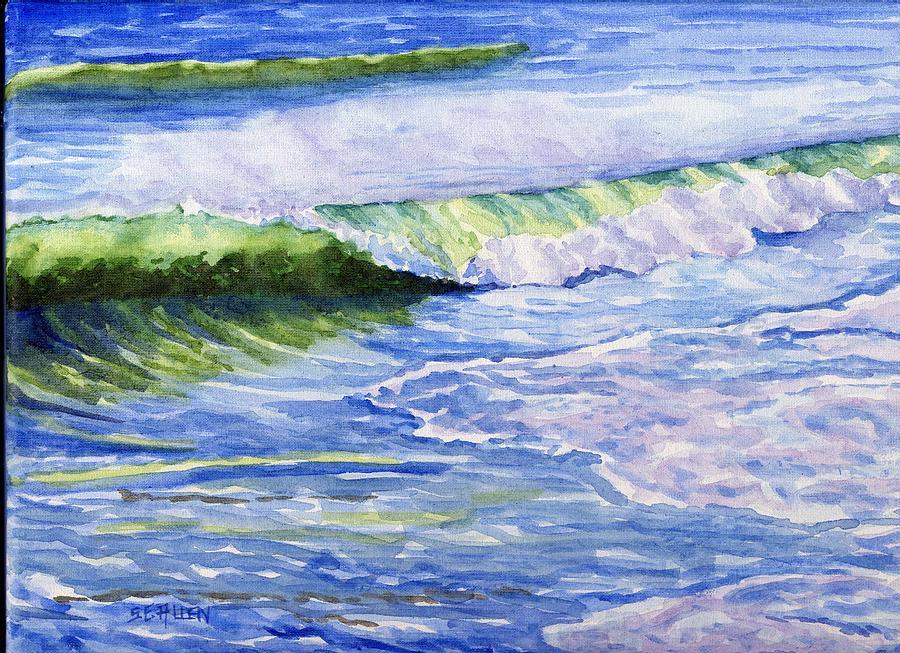 Seascape Painting - Sunlit Surf by Sharon E Allen