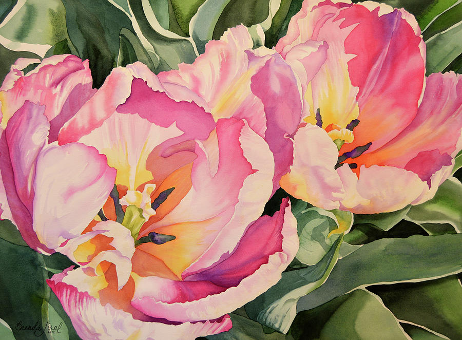 Watercolor Painting - Sunlit Tulips by Brenda Jiral