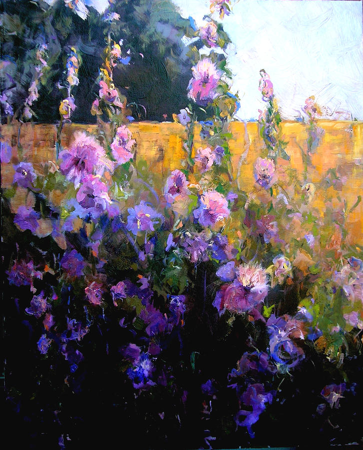Hollyhock Colors: Sunlite Hollyhocks Painting By Cindy Carrillo