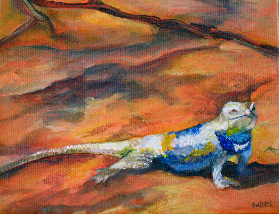 Lizard Painting - Sunning by Deborah White