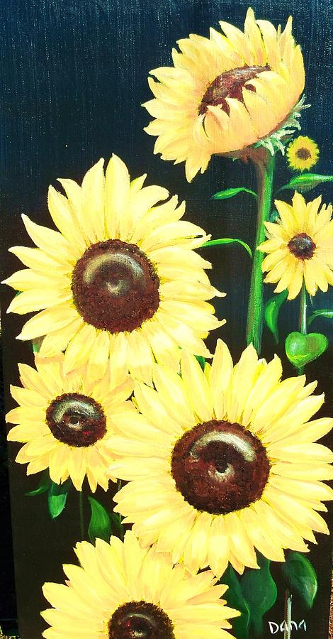 Sun Flowers Painting - Sunny And Share by Dana Redfern