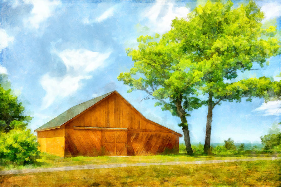 Sunny Barn and Trees by Betty Denise