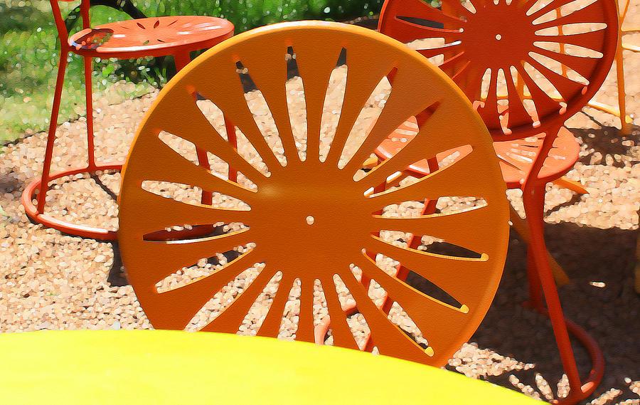 Orange Digital Art - Sunny Chairs 4 by Geoff Strehlow
