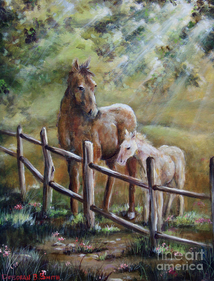 Horses Painting - Sunny Day by Deborah Smith