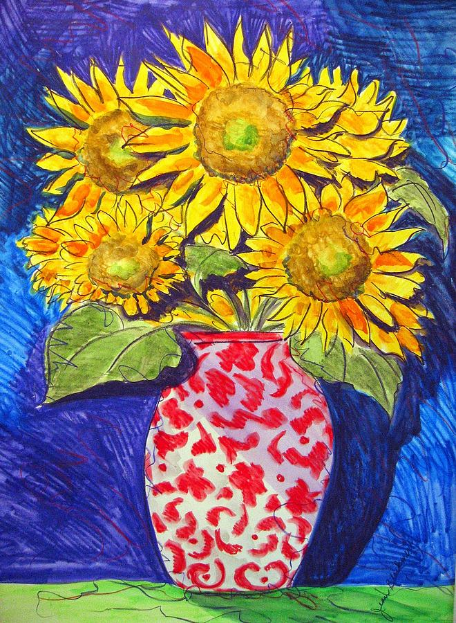 Sunflower Painting - Sunny Disposition by Jean Blackmer