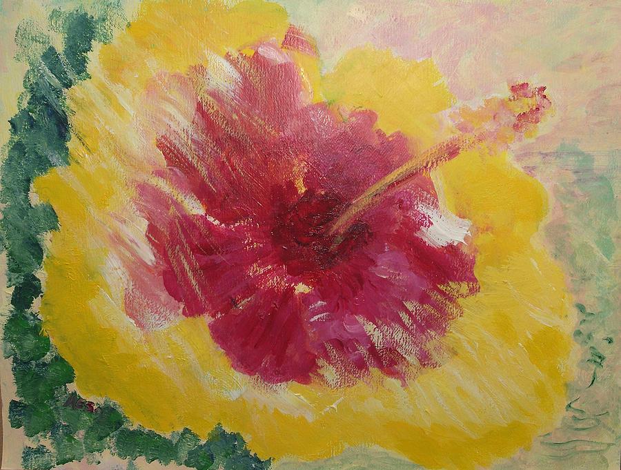 Kauai Painting - Sunny Hibiscus by Adrian Simpson