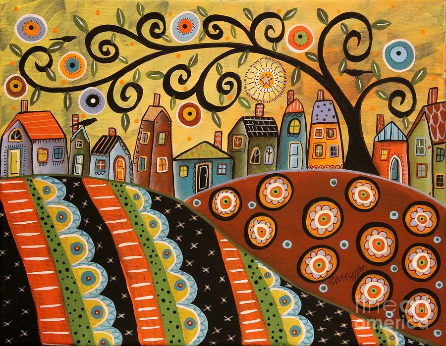 Village Painting - Sunny Landscape by Karla Gerard