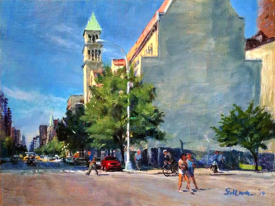 Landscape Painting - Summer Morning Near St. Michaels Church, Amsterdam Ave. by Peter Salwen