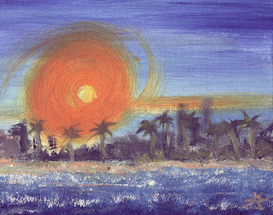 Seashore Painting - Sunny  Palms by Jorge Delara