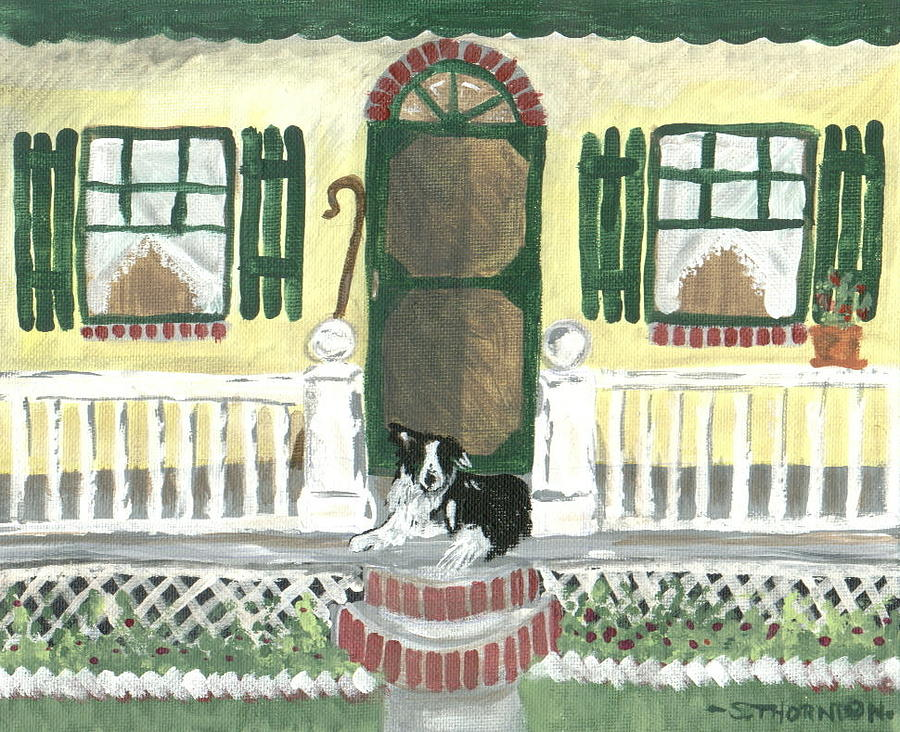 Border Collie Painting - Sunny Porch by Sue Ann Thornton