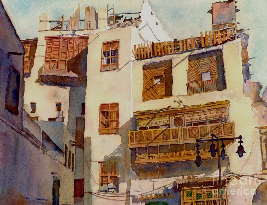 Watercolor Painting - Sunny Shutters Arabia by Dorothy Boyer
