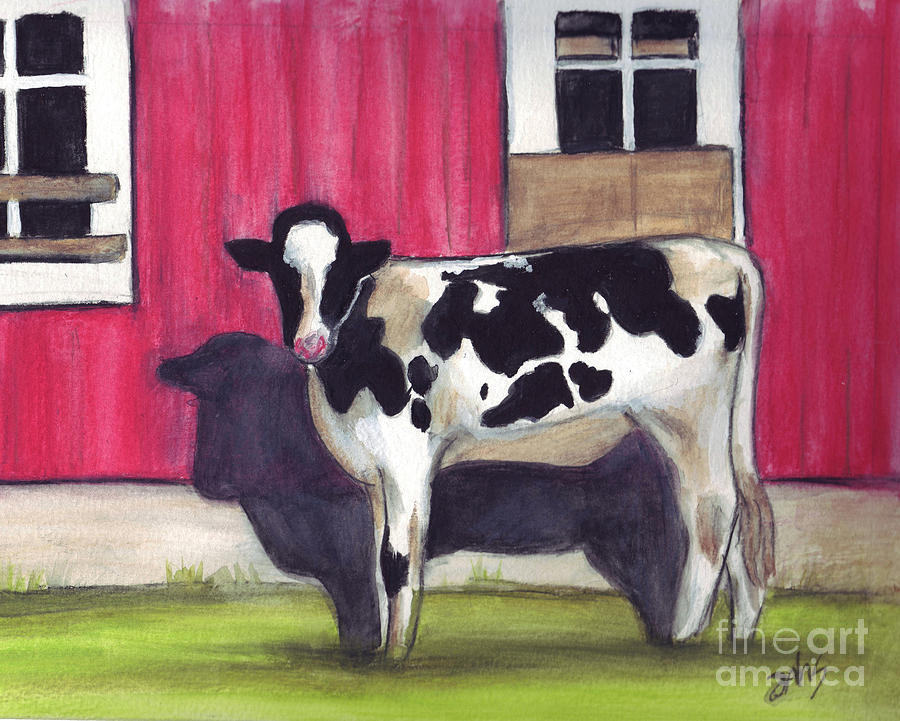 Cow Painting - Sunny side of the barn by Debra Sandstrom