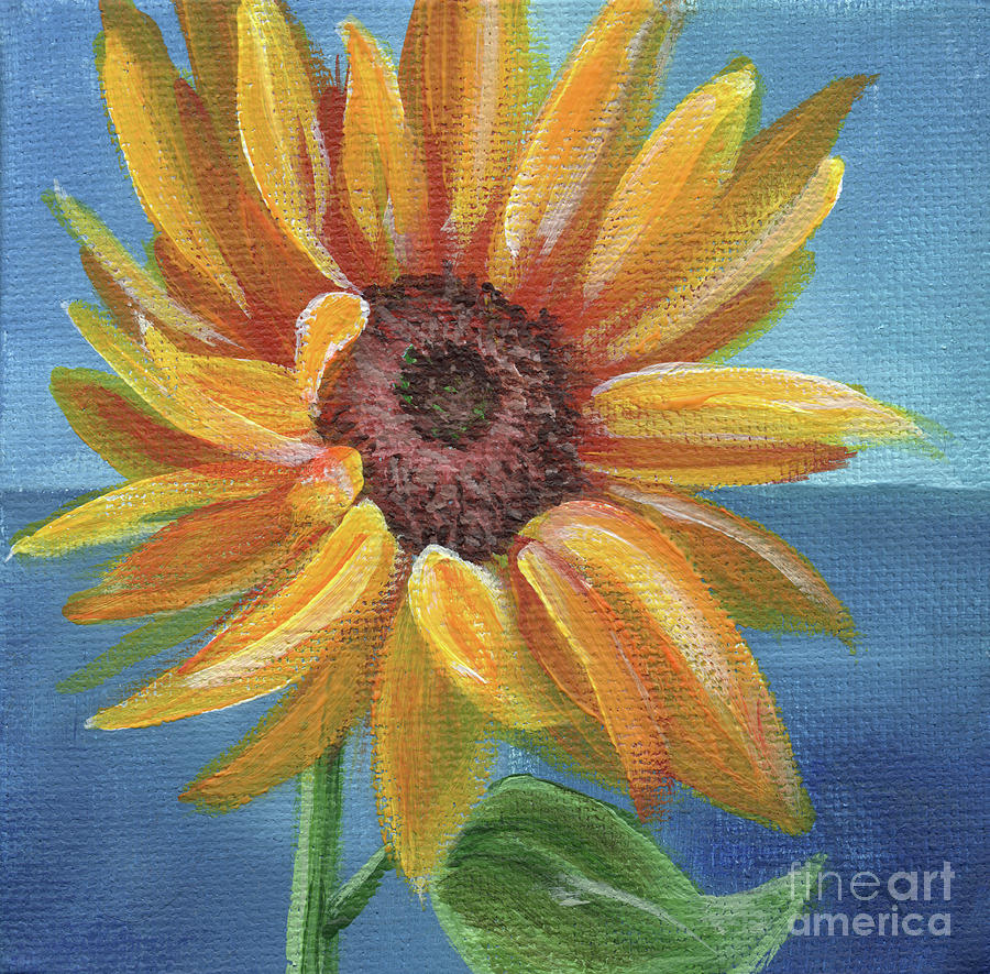 Sunflower Painting - Sunny Slaute by Annie Troe