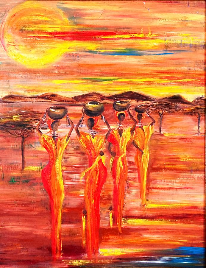 Women Painting - Sunny South Africa by Marietjie Henning