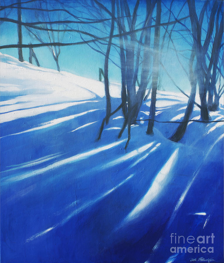 Blue Painting - Sunny Traintrip To Hamar by Lin Petershagen