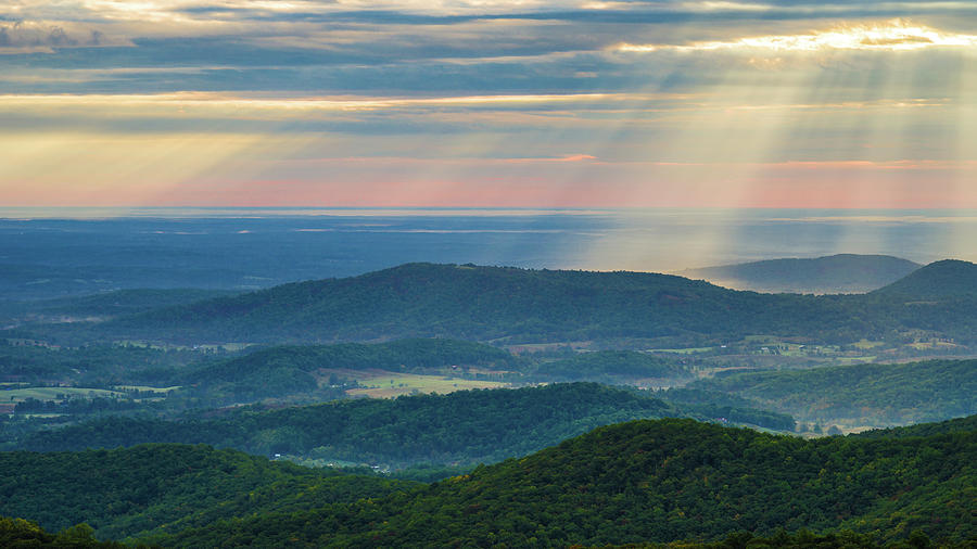 Sunrays Over the Blue Ridge Mountains by Lori Coleman