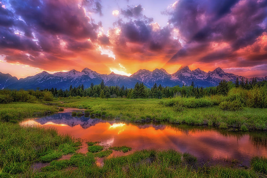 Sunset Photograph - Sunrays Over The Tetons by Darren White