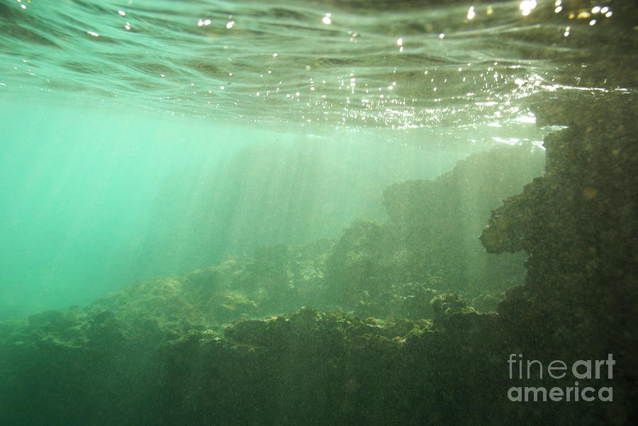 Absence Photograph - Sunrays Penetrating Underwater Cave by Sami Sarkis