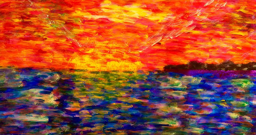 Acrylic Painting - Sunrise #1  15-7 by Patrick OLeary