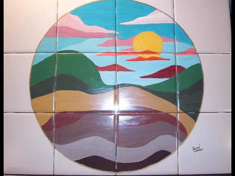 Ceramic Tile Ceramic Art - Sunrise Abstract On Tile by Hilda and Jose Garrancho