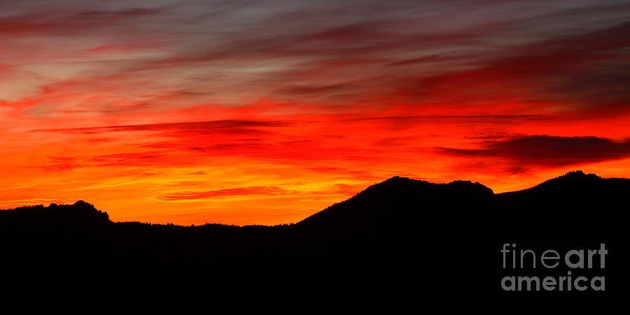 Sunrise Photograph - Sunrise Against Mountain Skyline by Max Allen