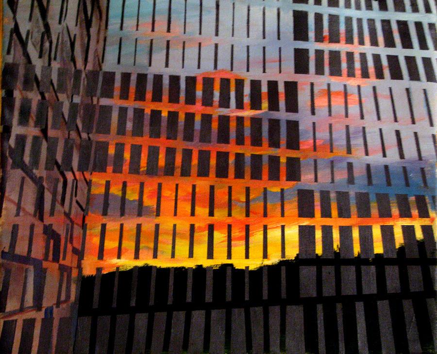 Sunrise Painting - Sunrise by Art Nomad Sandra  Hansen