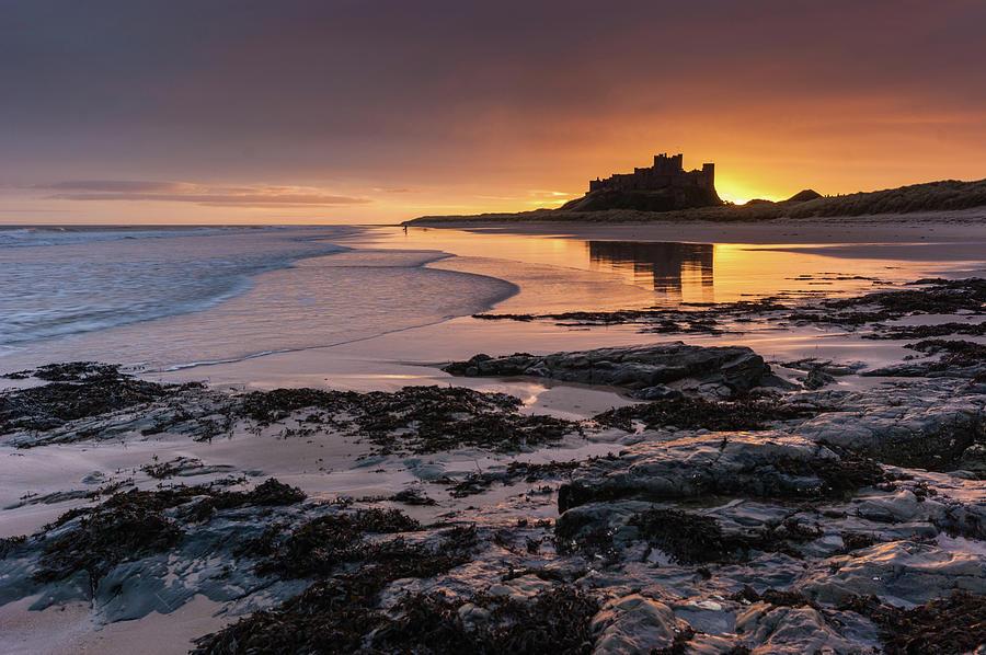 Sunrise Photograph - Sunrise At Bamburgh Castle #4, Northumberland, North East England by Anthony Lawlor