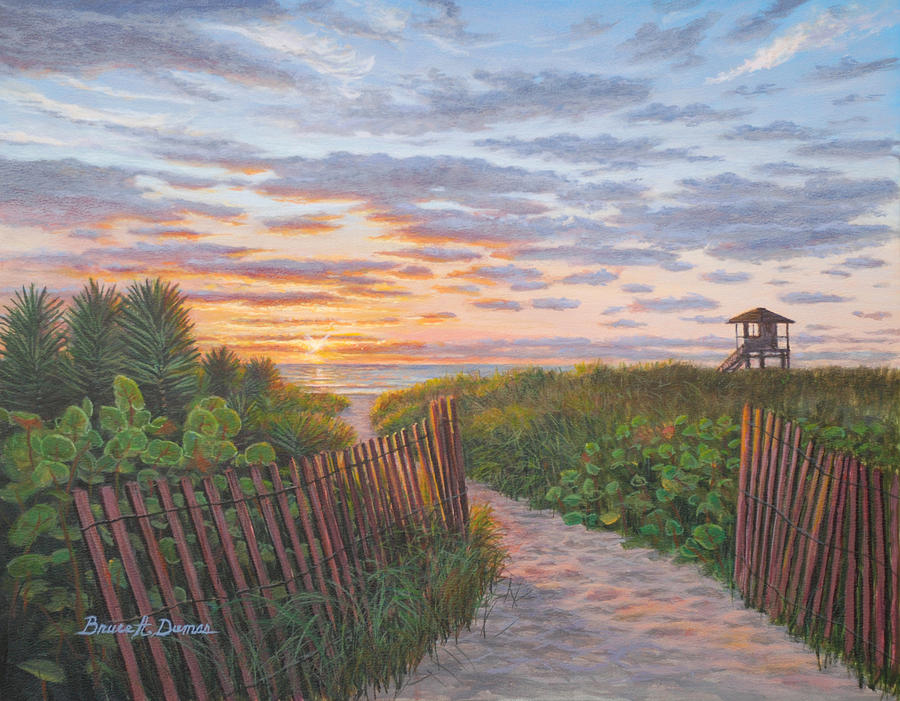 Seascape Painting - Sunrise At Delray Beach by Bruce Dumas