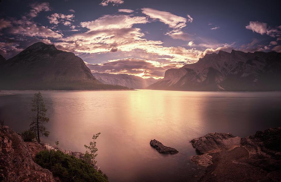 America Photograph - Sunrise At Lake Minnewanka by William Freebilly photography