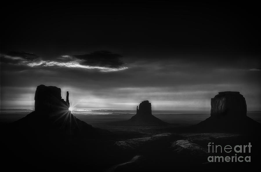 Sunrise At Monument Valley In Black And White Photograph