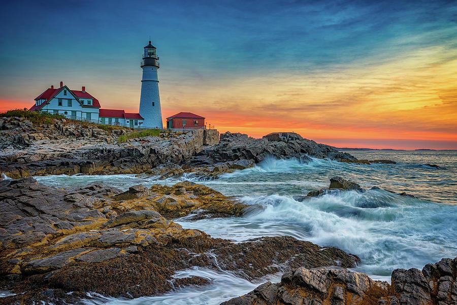 Portland Head Lighthouse Photograph - Sunrise At Portland Head Light by Rick Berk
