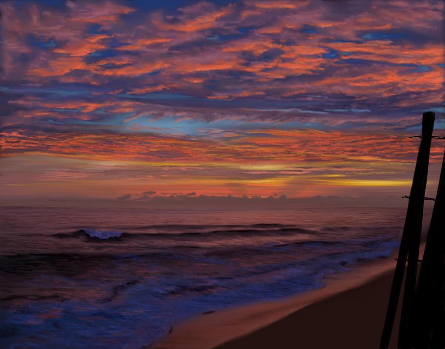 Sunrise at sandbridge Painting by Myke  Irving