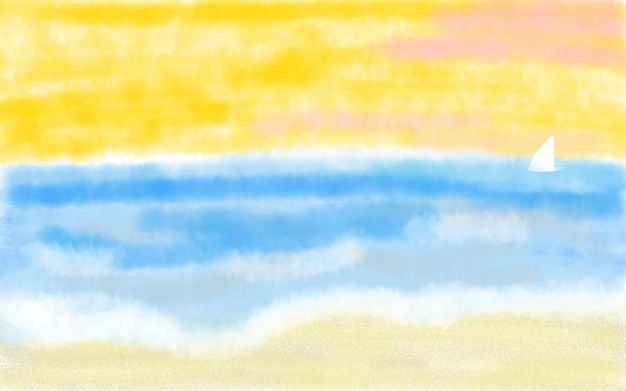 Abstract Seascape Digital Art - Sunrise at the Beach Abstract Seascape by Eliza Donovan