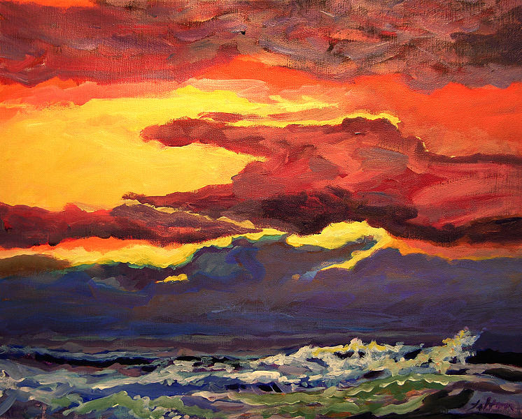 Original Acrylic Paintings Painting - Sunrise At The Jetty 6-23-15 by Julianne Felton