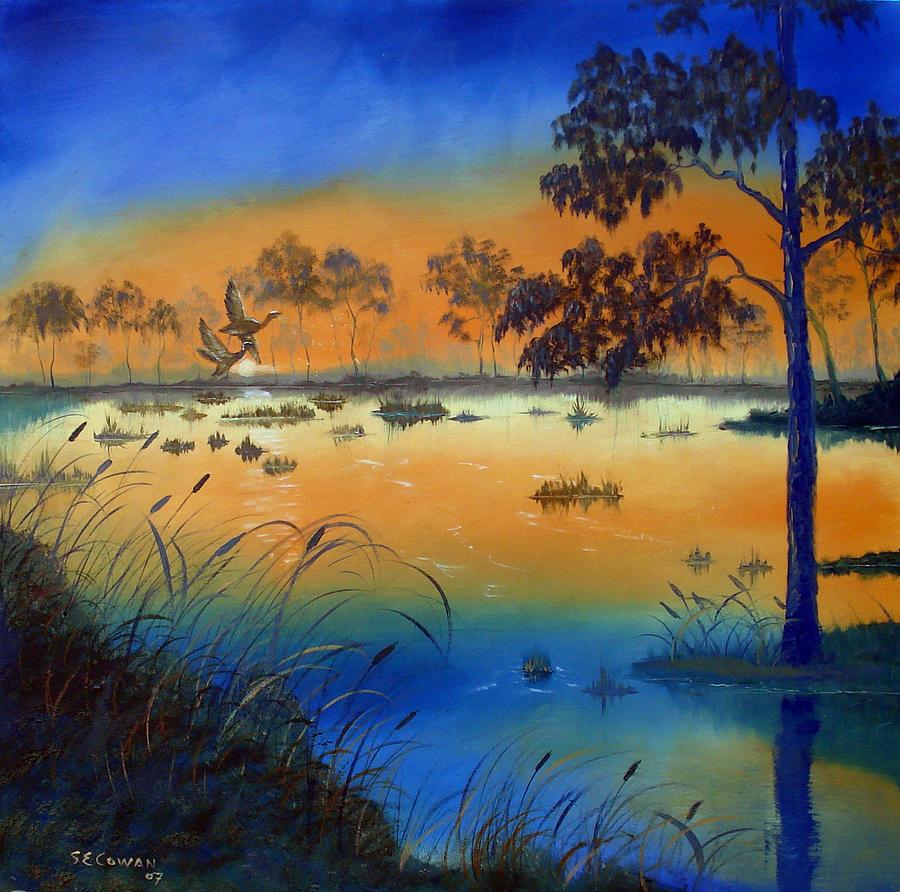 Sunrise Painting - Sunrise At The Lake by SueEllen Cowan