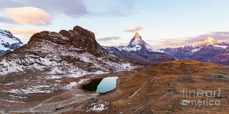 Europe Photograph - Sunrise At The Matterhorn Mountain Area by Werner Dieterich