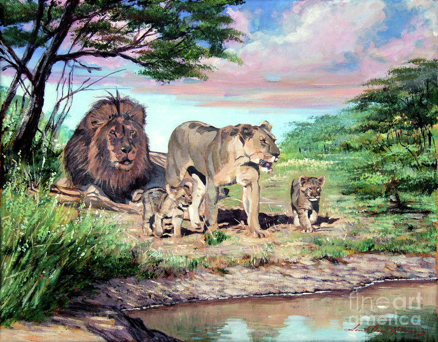 Lions Painting - Sunrise At The Oasis by David Lloyd Glover