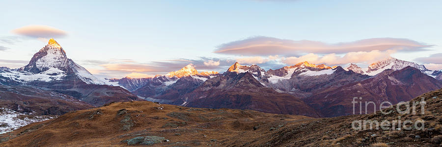 Europe Photograph - Sunrise At The Swiss Alps by Werner Dieterich