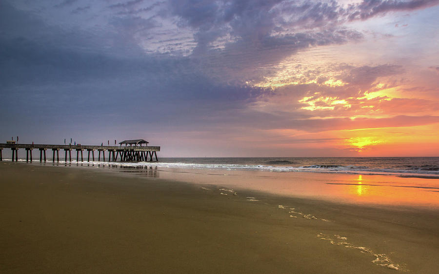 Sunrise At Tybee Island Pier Photograph