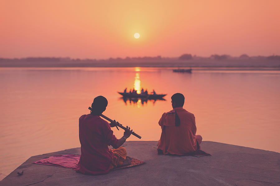 Benares Photograph - Sunrise by the Ganges by Marji Lang