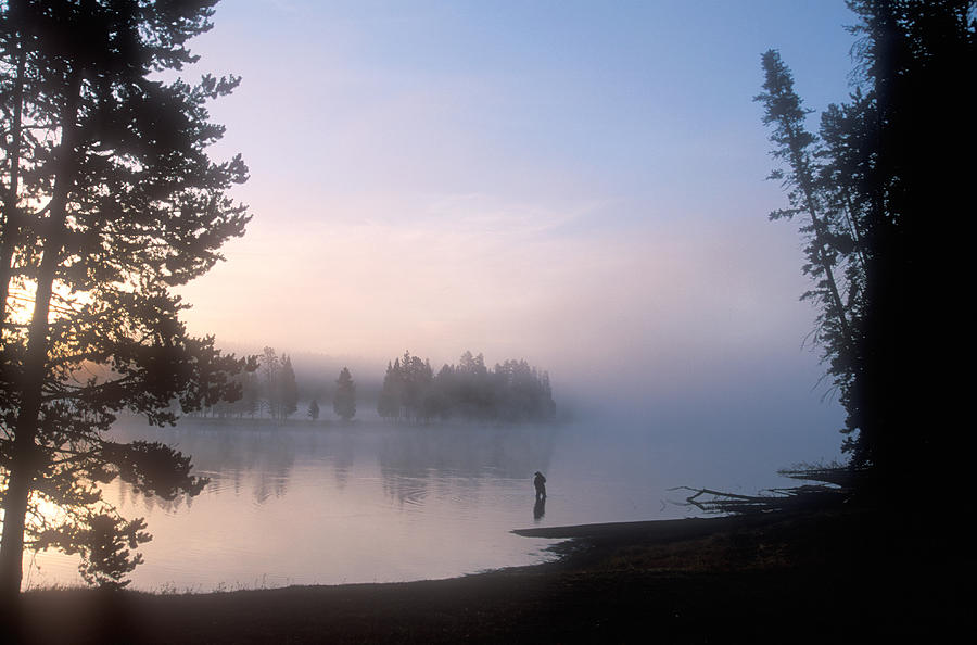 Wyoming Photograph - Sunrise Fishing In The Yellowstone River by Michael S. Lewis