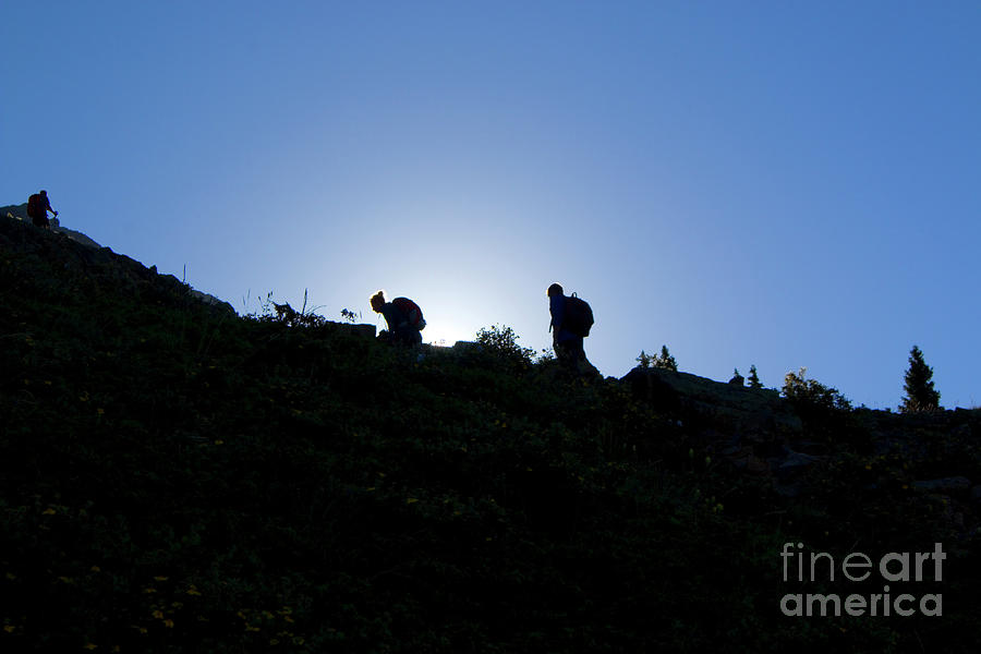 Sunrise Hikers On Mount Massive Photograph