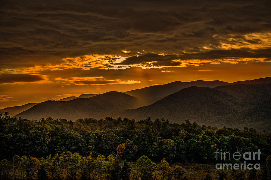 Sunrise in Cades Cove Great Smoky Mountains Tennessee by T Lowry Wilson
